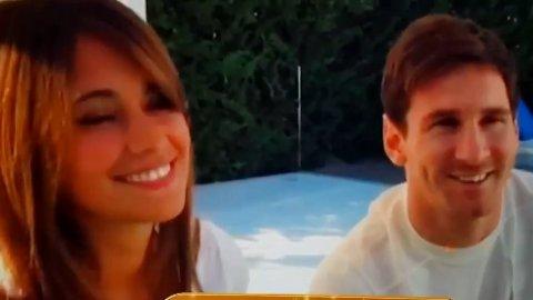 Lionel Messi y AntonellaRoccuzzo se mostraron juntos en televisición