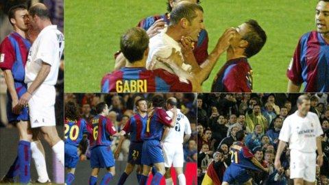 Zidane y Luis Enrique se fueron a las manos en un clásico de 2003