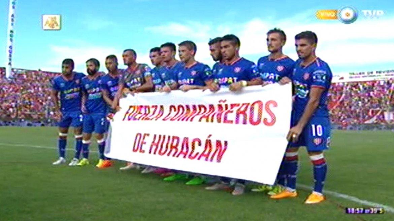 Los jugadores de Unión enviaron apoyo para sus colegas de Huracán