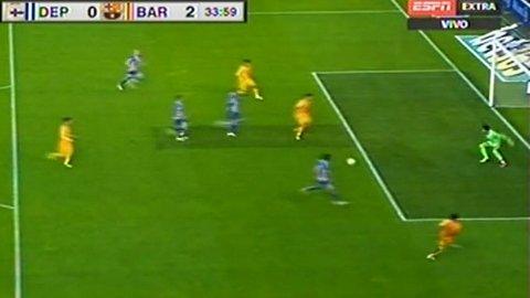 Luis Suárez falló una ocasión clara en Deportivo-Barcelona, luego de anotar dos goles
