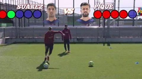 Piqué festejó en la revancha del desafío ante Suárez en el entrenamiento del Barcelona