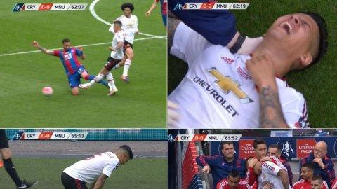 La dura entrada sobre Marcos Rojo, que lo sacó de la Final de la FA Cup