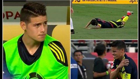 Por una lesión en el hombro, James Rodríguez fue reemplazado en Colombia frente a Estados Unidos