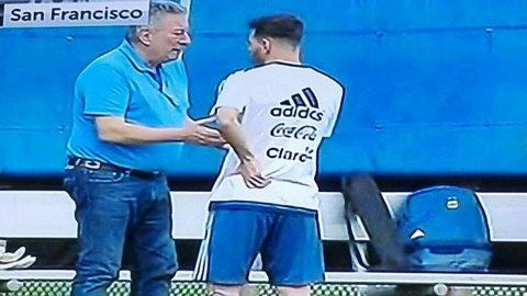 La charla de Lionel messi y Luis Segura en el entrenamiento de la Selección argentina